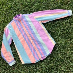 Nautica Pastel Striped Button Up Long Sleeve Shirt